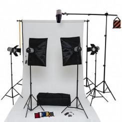 Estúdio completo com 5 flashes, luz, suporte, softbox, acessórios e cenário