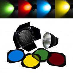 Kit gel com refletor Bowens, bandoor, colmeia e 4 filtros